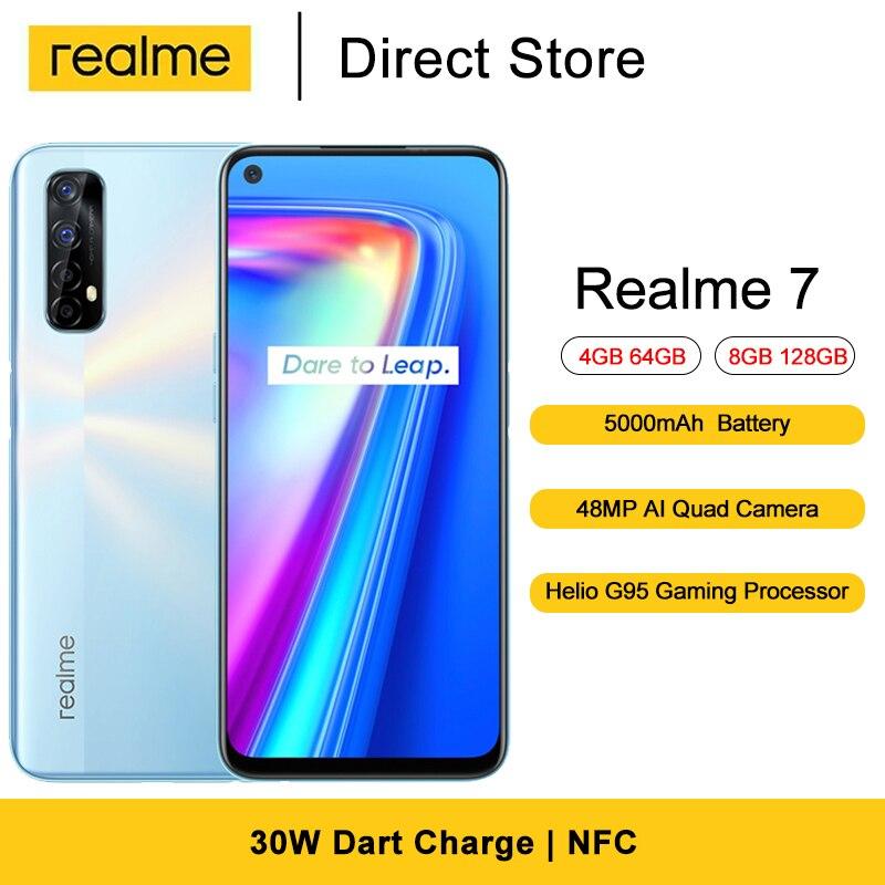 Realme 7 мобильные телефоны NFC Helio G95 игровой Octa Core 6,5 ''FHD + безрамочный экран полный экран 16MP Фронтальная камера 5000 мАч Android смартфоны 10
