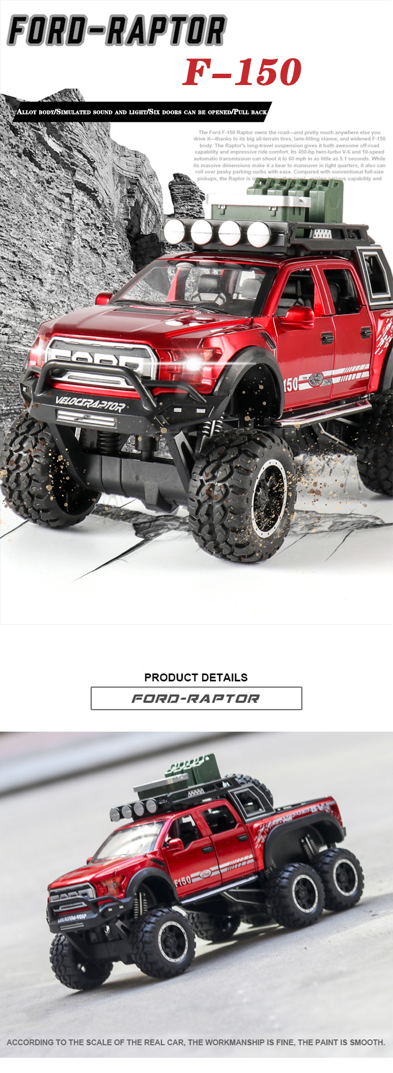 Ford F150 Raptor Pickup Truck Model Car with Sound and Lights 7
