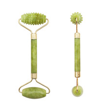 1 pc cabeça dupla verde jade rolo elíptico massageador olho rosto pescoço facial emagrecimento fino rosto beleza face lift ferramentas