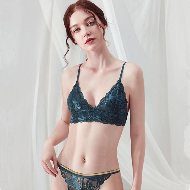Fashion Sexy Bra Set Women's Push Up V-neck Lace Underwear Panties Thin  Soft Breathable Bra Set Sexy Underwear