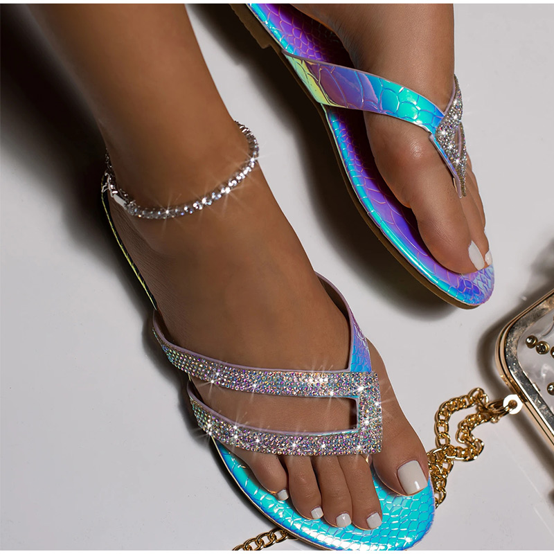 Women Lady Crystal Sequins Summer Shoes Flat Toe Ring Flip Flops Casual Slippers