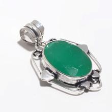 Emerald  Pendant Silver Overlay over Copper, Women Jewelry gift