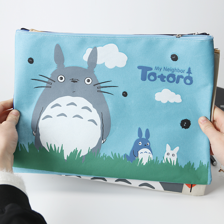 33x23.5cm Big Capacity A4 Document Bag Cute My Neighbor Totoro Oxford File Folder Office Stationery Storage Bag For Student Gift
