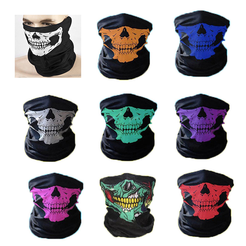 Halloween Bandanas Windproof Skeleton Skull Scarf Neck Half Warmer Face Mask Ghost Scarves for Outdoor Sports Climbing Hiking 5