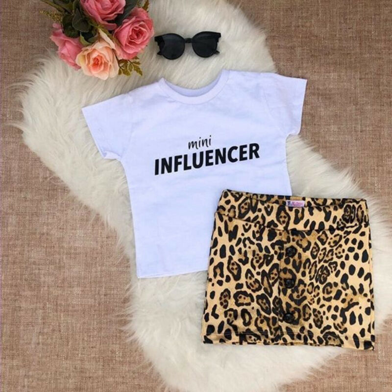 CANIS Summer Toddler Baby Girl Clothes Short Sleeve Letter Printed Tops T-Shirt Leopard Print Mini Skirt Outfits