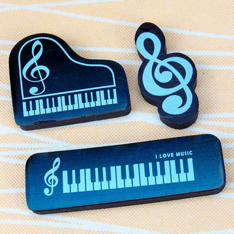 3pcs/set Musical Piano Notes Rubber Pencil Eraser School Student Korean Stationery Correction Supplies For Kids Gifts W91A