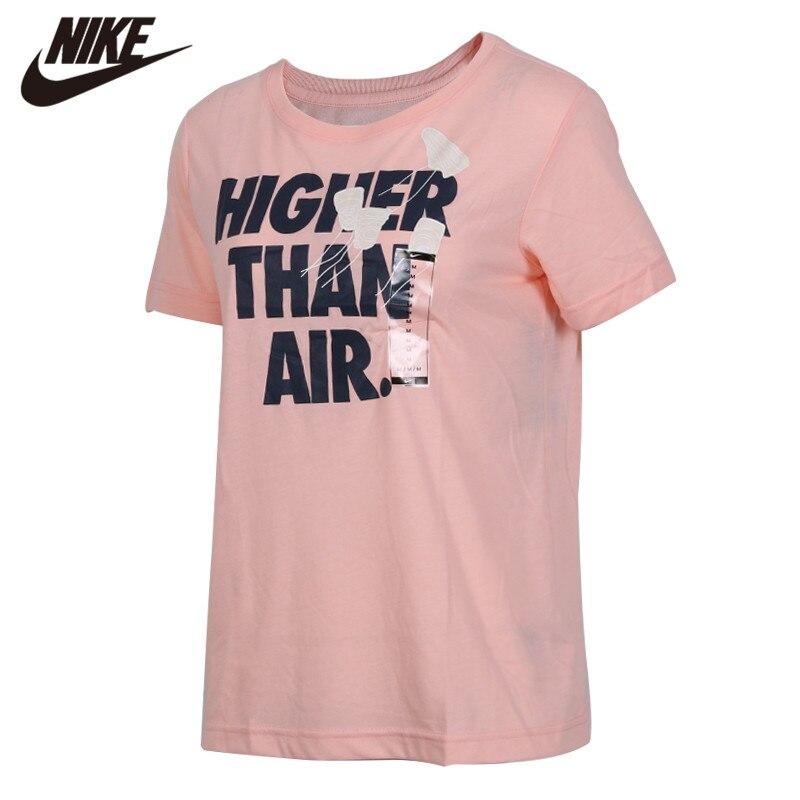 Original Nike AS W NSW TEE HIGHER THAN AIR Women Soft Pink Shirts Short Sleeve Grey