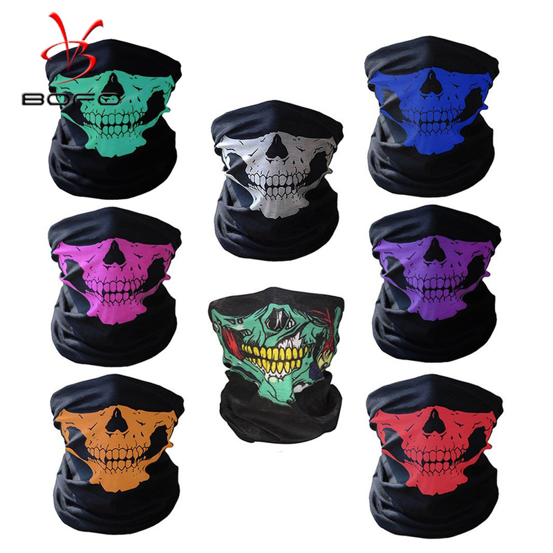 Multicolor Skull Face Mask Outdoor Riding Mask Bicycle Ski Skull Half Face Mask Ghost Scarf Use Neck Warmer Halloween Skull Mask