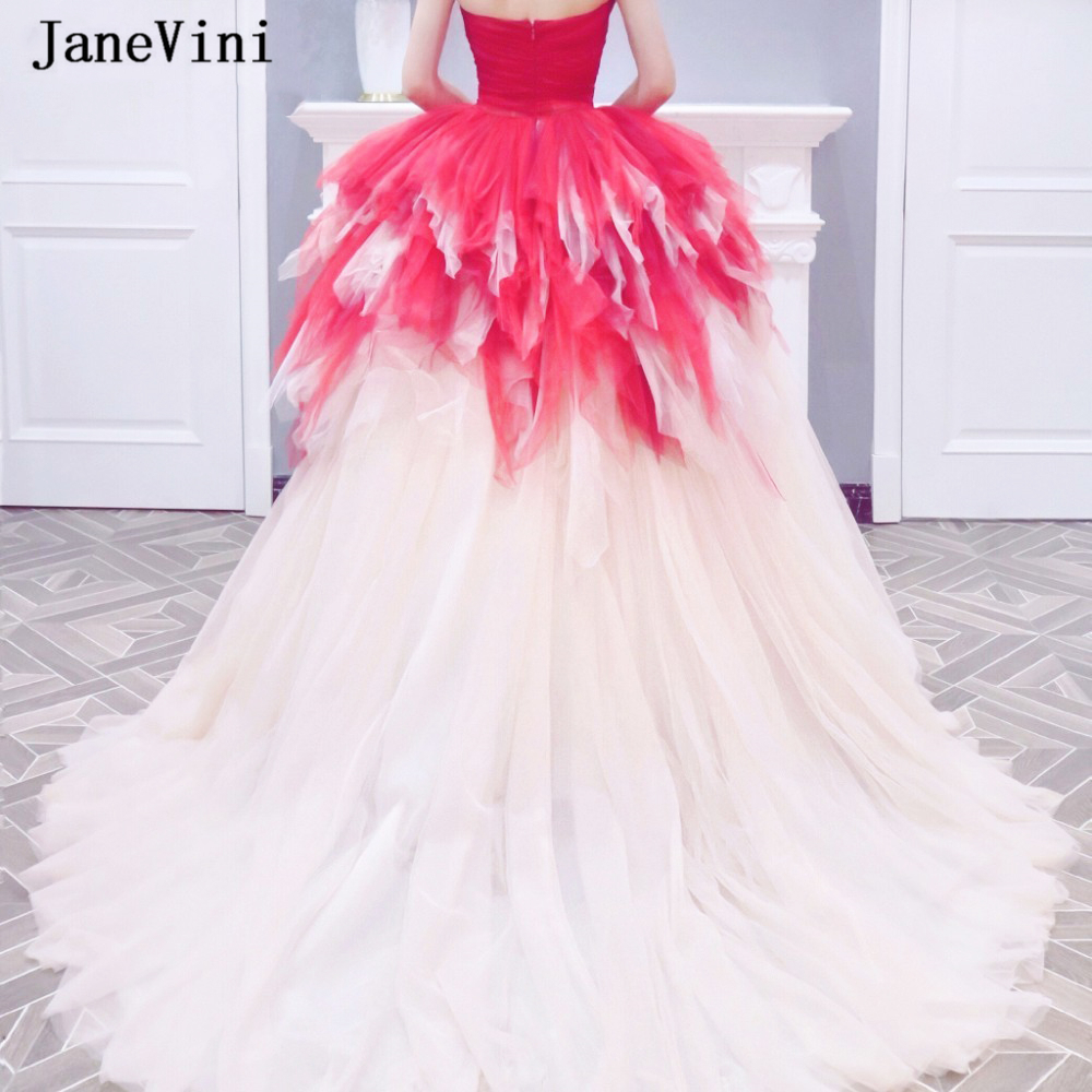 JaneVini New Fashion Red Tiered Ruched Tulle Long Prom Dresses Ball Gown Sweetheart Candy Color Plus Size Puffy Prom Party Gowns
