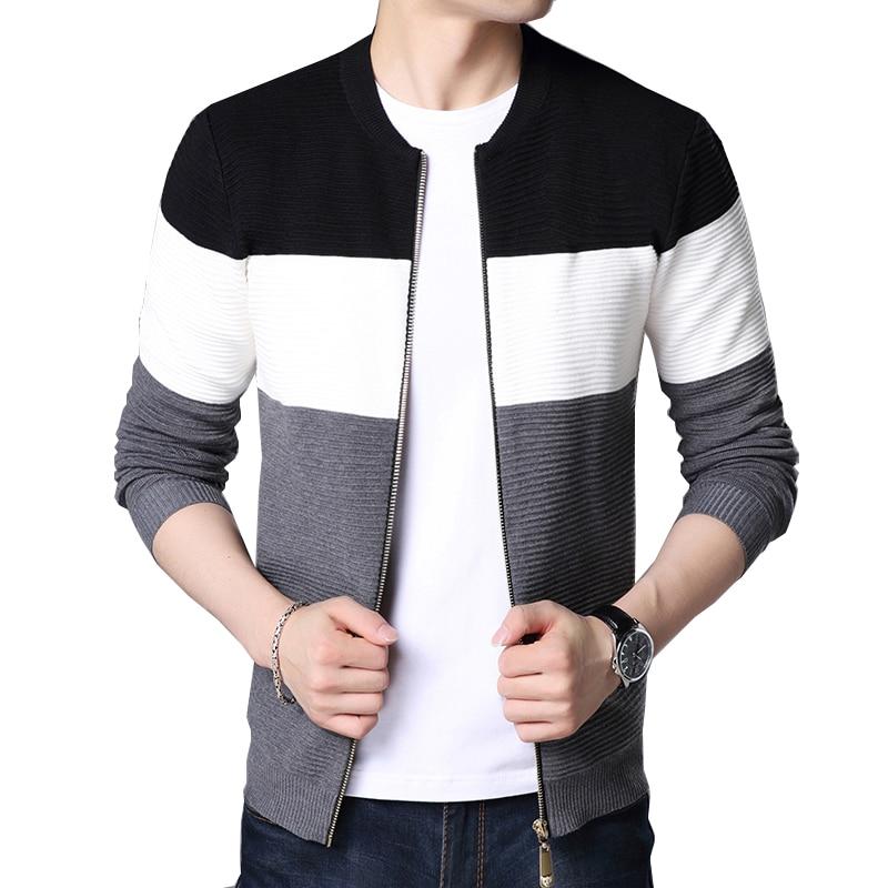 BROWON 2020 Autumn Men New Casual Cardigan Sweater Jumper Men Winter Fashion Striped Pockets Knit Outwear Coat Sweater Men