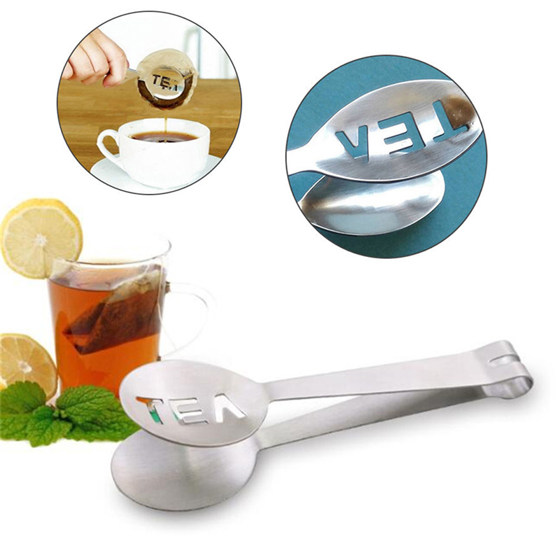 1Pc //2 Pcs Tea Bag Squeezer Stainless Steel Tea Bag Spoon Strainer Tea or Sugar Clip for Kitchen Bar Tools 1pc