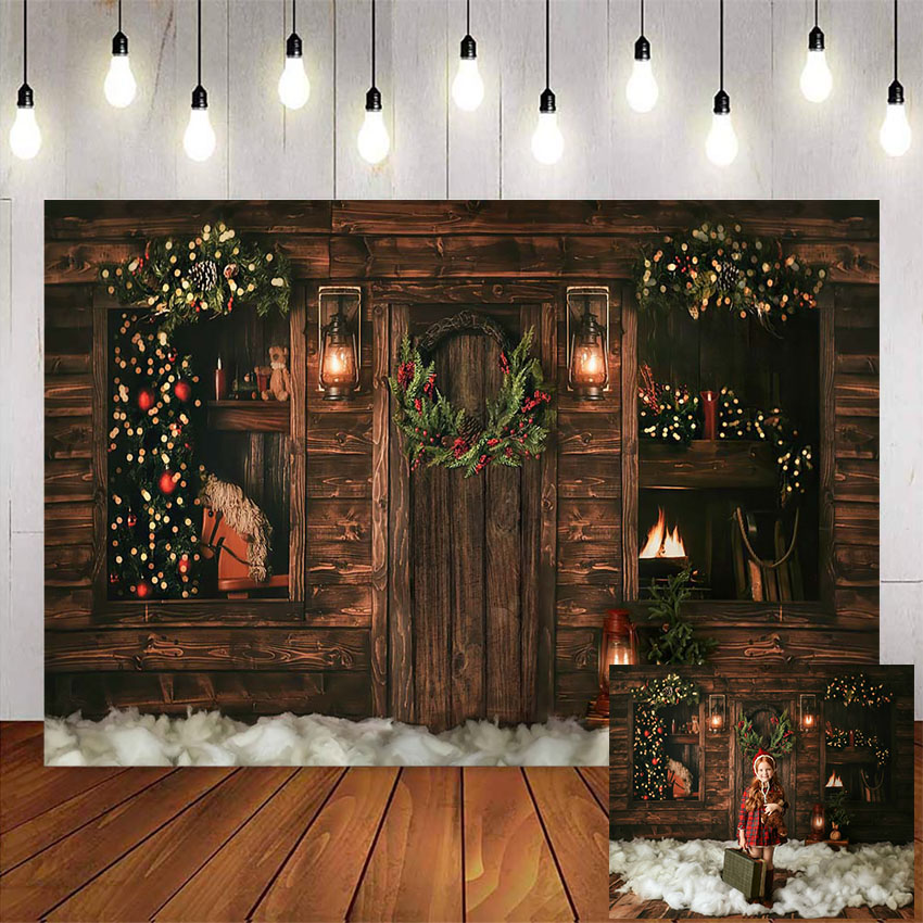 Christmas backdrop for photography rustic wood floor background for photo studio christmas tree retro Oil lamp