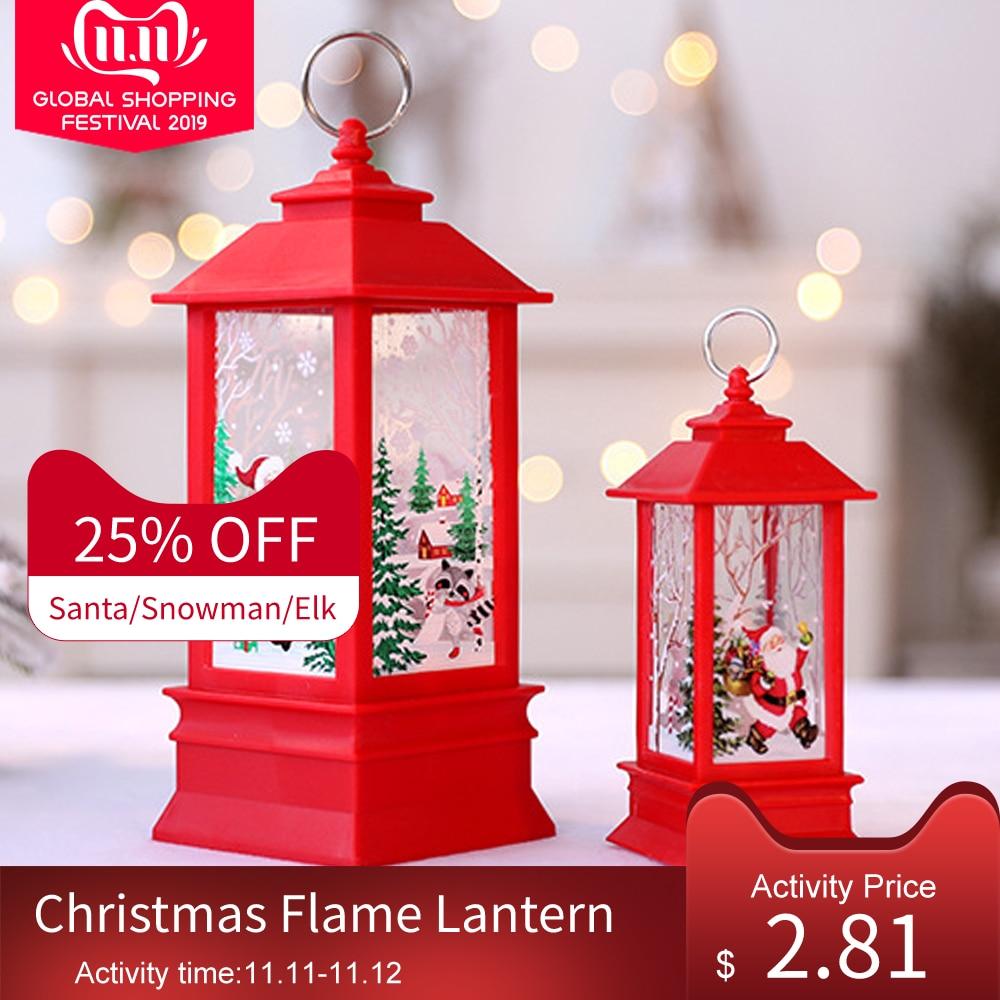 Christmas Flame Lantern Santa Claus Snowman/Elk Christmas LED Lamp Christmas Decorations For Home
