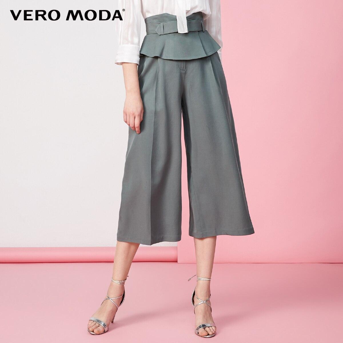 Vero Moda Women's Office High Waist Wide Waistband Decoration Capri Pants | 31936J506