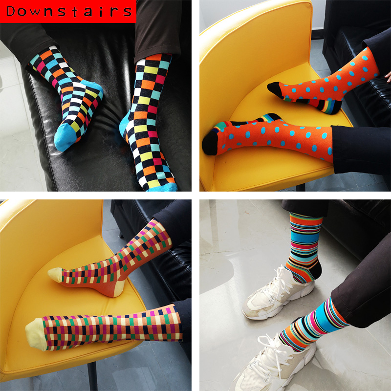 Downstairs 28Colors Brand Men Happy Socks British Style Animals&Stripes Sloth Hip Hop Skateboard Chaussettes Homme Fantaisie