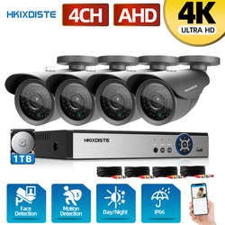 HKIXDISTE H.265 4K система видеонаблюдения 4 канала DVR 4*8 Мп камера распознавания лица 4 канала 6 в 1 DVR инфракрасная AHD камера комплект системы безопас...