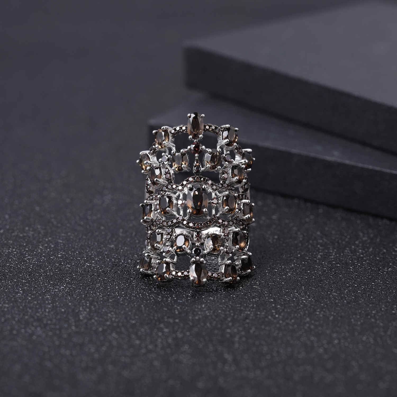 GEM'S BALLET Luxury 7.17Ct Natural Smoky Quartz Gemstone Rings For Women Real 925 Sterling Silver Finger Ring Fine Jewelry