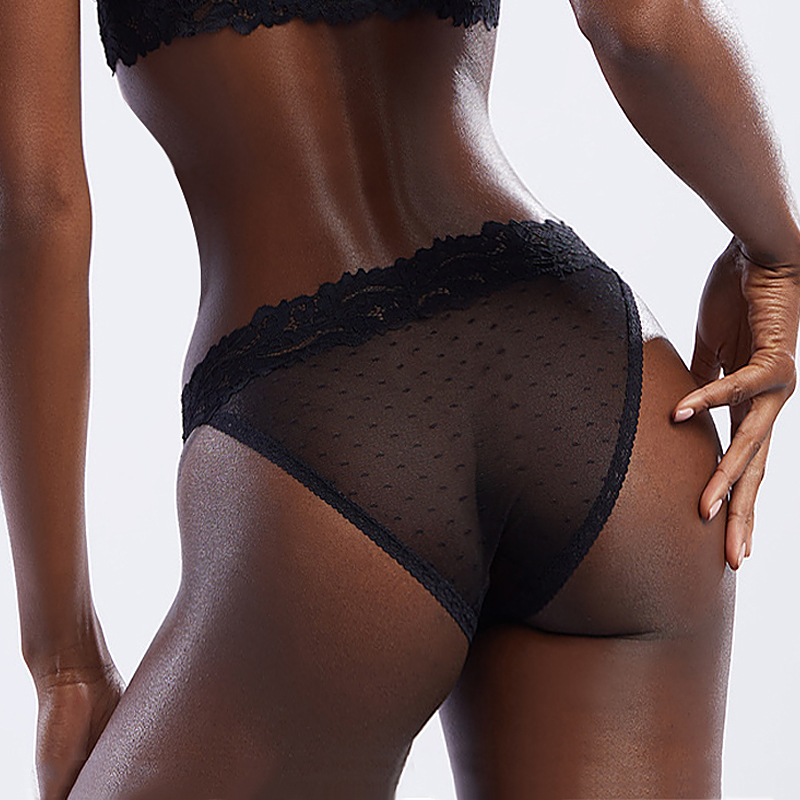 2020 New Women Sexy Lace Lingerie Dot Mesh Low-waist Panties Sex Thong Transparent Hollow Out Female Soft Underwear G String
