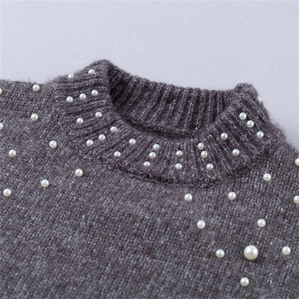 Femmes pull décontracté aiguille épaisse col rond à manches longues pull pull automne hiver décontracté perle chandails Femme vêtements