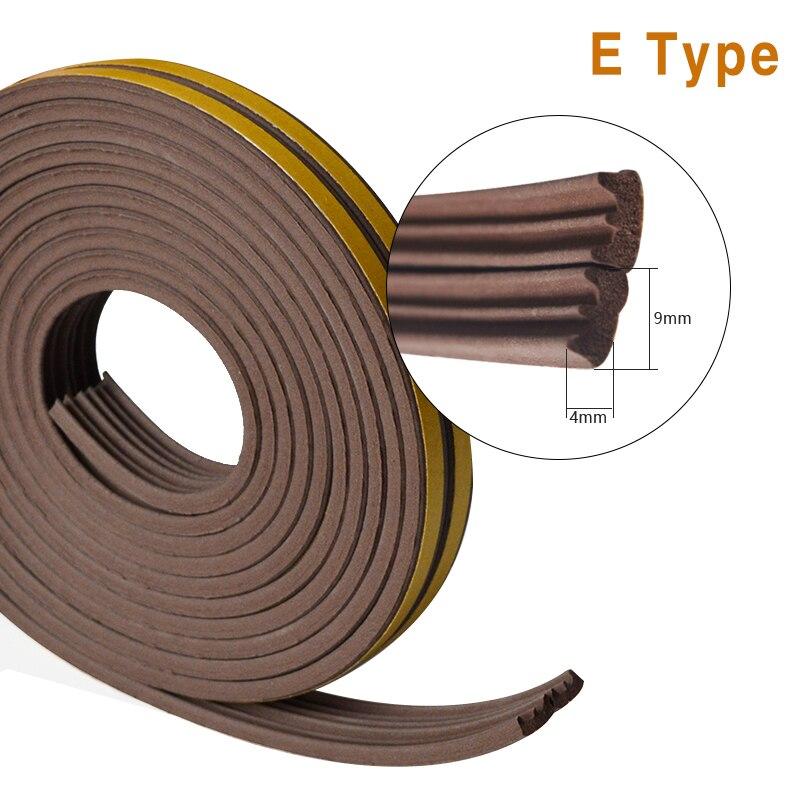 1meters E Type Door And Windows Seal Strip Sound Insulation Windows Seal Strip Niose Insulation Dustproof Weatherproof Good Seal