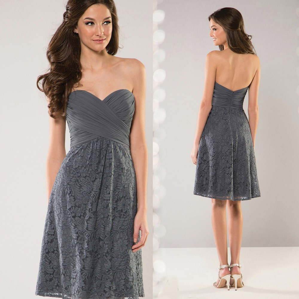 Free Shipping Grey Lace Bridesmaid Dresses Short Wedding Party Dress 2015 Sweetheart Pleat Low Back B2300