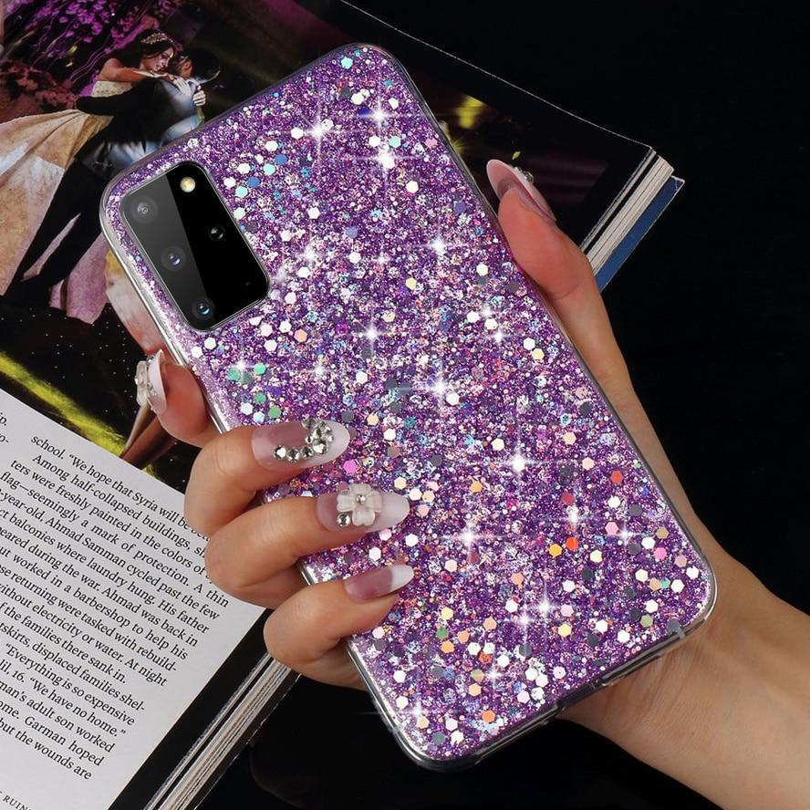 Silicone Glitter Case for Samsung Galaxy S20 Ultra A51 A71 S10e S10 S9 S8 Plus S7 Edge S6 A5 2017 Soft Slim Protective Cover