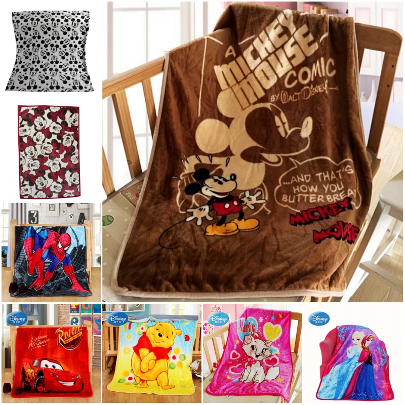 Disney Cartoon Minnie Mickey Mouse Stitch Winnie Car Spiderman Blanket Throw 70x100cm Summer Blankets For Baby Child On Bed Crib