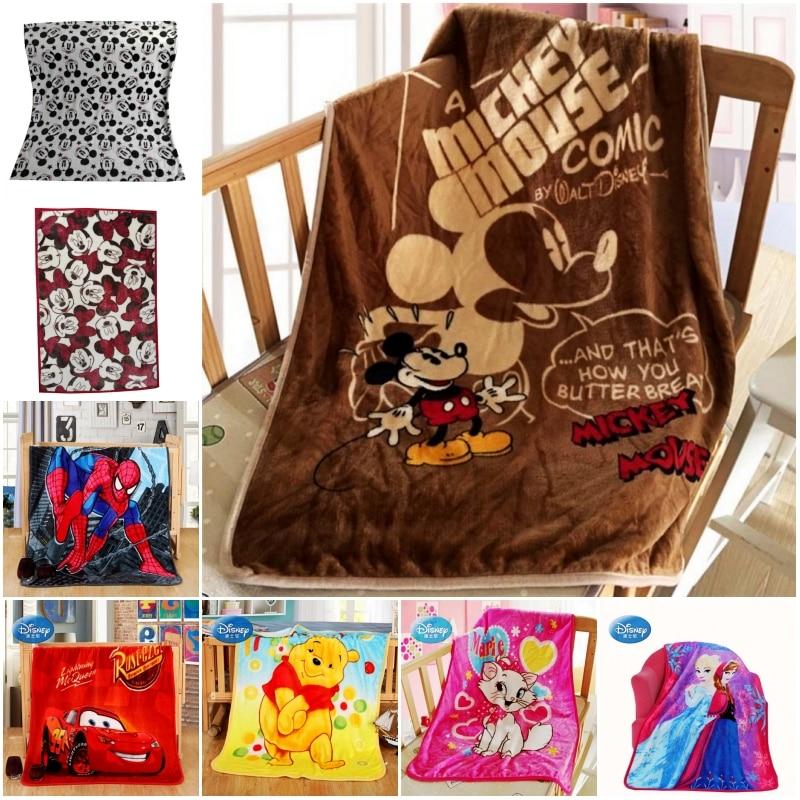Disney Cartoon Minnie Mickey Mouse Stitch Winnie Car Spiderman Blanket Throw 70x100cm Summer Blankets For Baby Child On Bed Crib