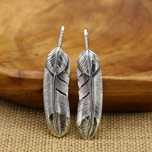 S925 Sterling Silver Jewelry Retro Thai Silver Pendant Simple Feather Brass Pendant for Men and Women недорого