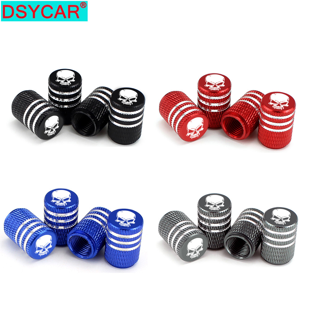 DSYCAR 4Pcs/Set Universal Skull Alu-alloy Tire Valve Caps For Car Truck Motorcycle Bicycle Valve Stem Cover Tire Accessories New