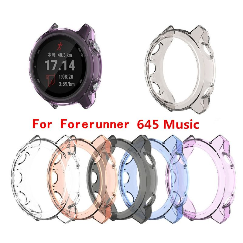Clear TPU Frame Protector Watch <font><b>Case</b></font> Cover Shell For <font><b>Garmin</b></font> <font><b>Forerunner</b></font> <font><b>645</b></font> music/64 Smart watch Band accessories image