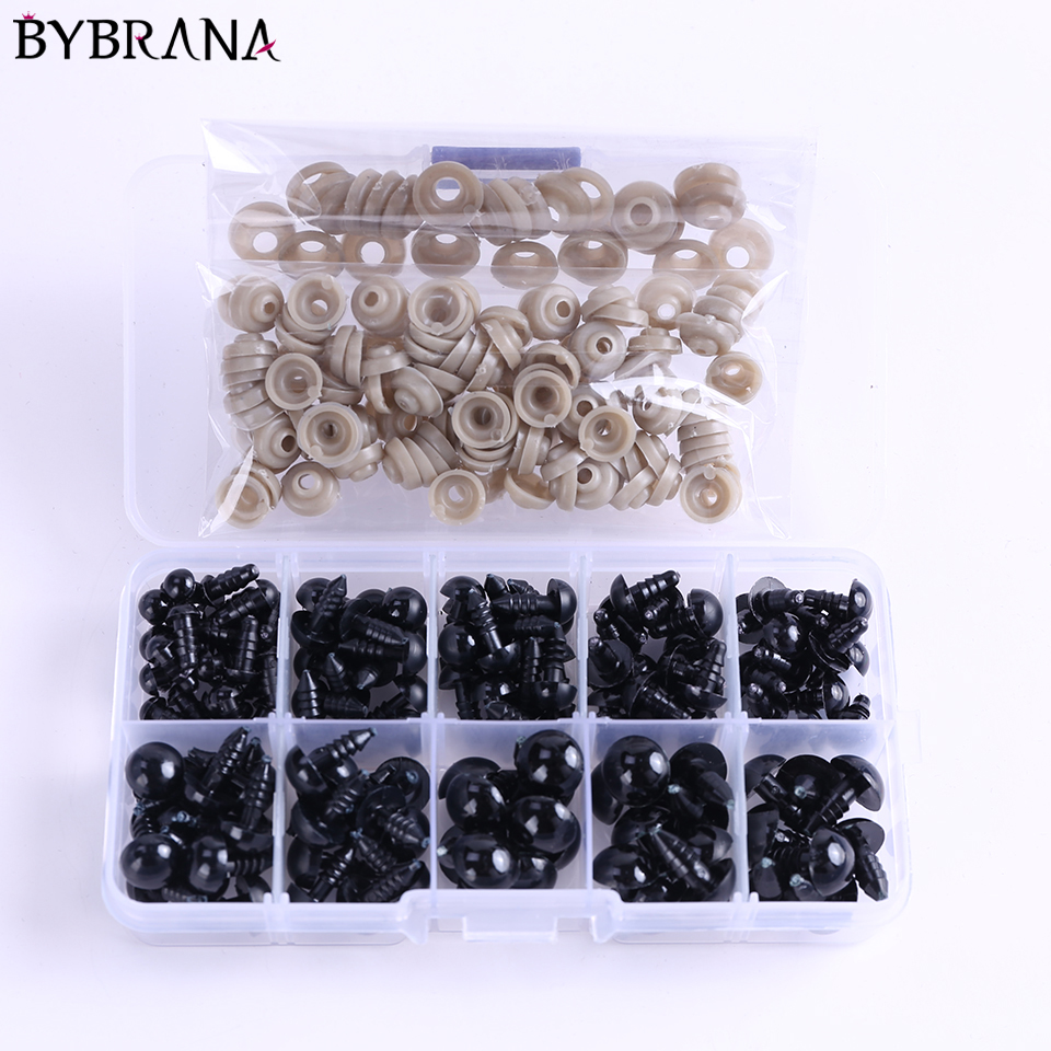 Bybrana 142pcs 6-14mm Black Plastic Craft Safety Eyes For Teddy Bear Stuffed Doll Animal Amigurumi DIY Accessories