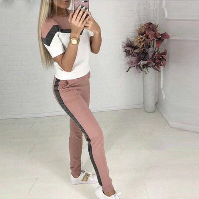 Summer Outfits For Women Set Short Sleeve Suit Patchwork O-neck T-shirt + Pants 2 Pieces Set Tracksuit For Women Sweatshirt Suit