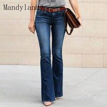 Mandylandy-pantalones vaqueros de cintura media para mujer, Jeans de moda de Color sólido, ajustados e informales, acampanados, largos, de otoño