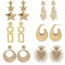 Vintage Metal Geometric Drop Earrings for Women Trendy Pentagram  Coconut tree Dangle Earrings Personality Statement Jewelry vintage eyes pentagram earrings