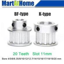 Алюминиевый зубчатый шкив XL20 20T 20 зубьев ширина слота 11 мм BF-type/K-type Boss 24 мм/26 мм/35 мм Диаметр отверстия 4~ 20 мм для 3D-принтера
