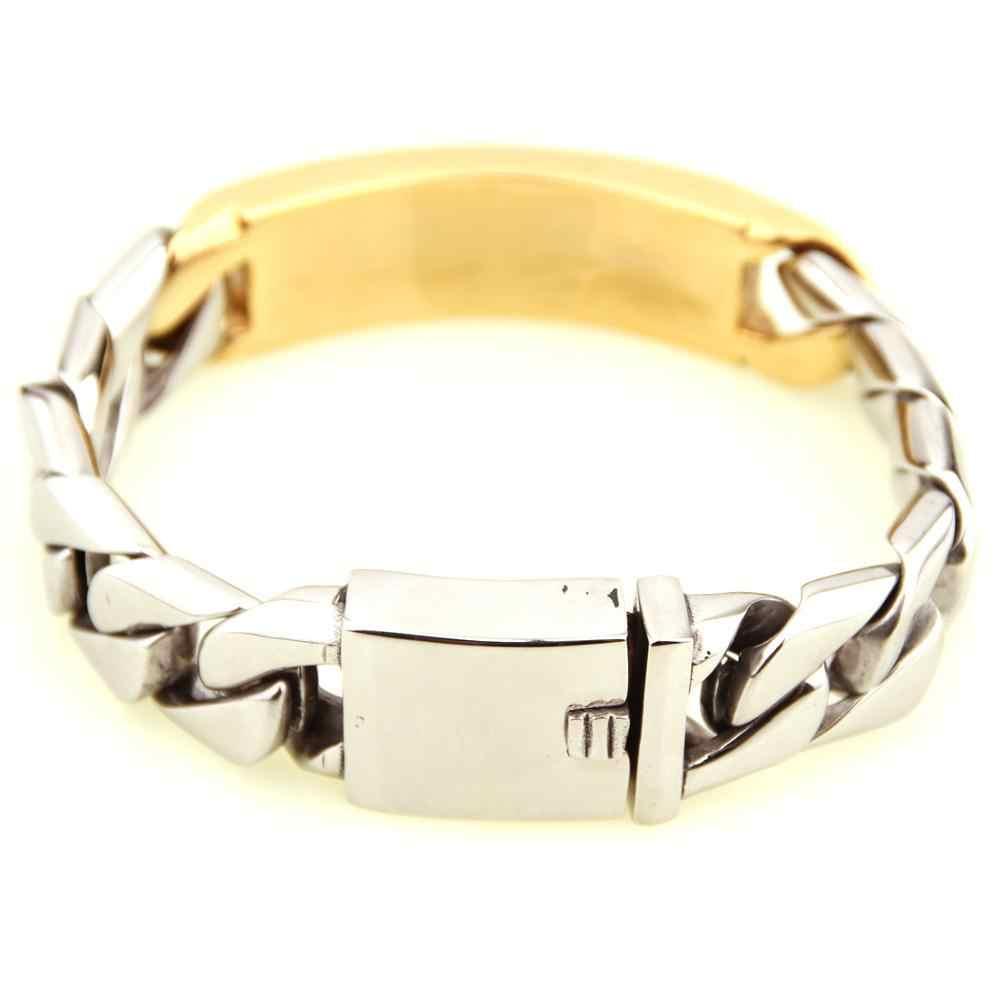 באיכות גבוהה זהב כסף זהב נירוסטה Biker לרסן שרשרת צמידי צמידי גברים היפ הופ קובני קישור תכשיטי צמיד