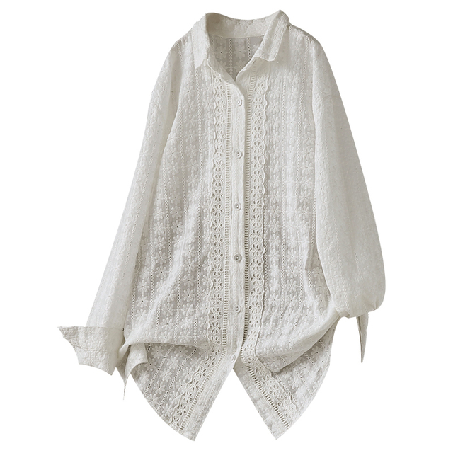 2020 autumn full daisy flowers embroidery long sleeve white shirt blouse mori girl lolita 3