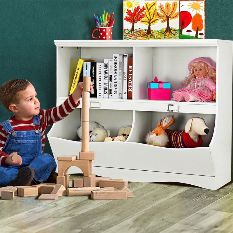 Children Storage White Bookcase Toy Organizer Solid Wood Lightweight Book Storage Elegant Design Multifunctional Usage