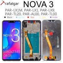 Trafalgar ekran için Huawei Nova 3 LCD ekran PAR LX1 sayısallaştırıcı dokunmatik ekran Huawei Nova 3 için ekran çerçeve değiştirme ile