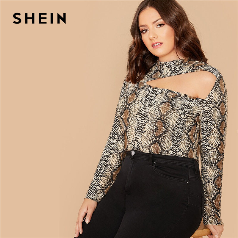 SHEIN Plus Size Multicolor Mock-Neck Cut Out Snakeskin Print Top Women Autumn Long Sleeve Slim Fit Tee Stretchy Sexy T-shirts 1