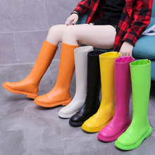 2019 New Knee High Boots For Women Yellow Pink Autumn Platform Black White Green Orange Combat