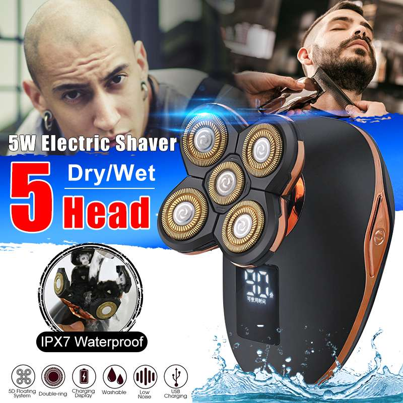 5 In 1 USB Rechargeable Electric Shaver Five Floating Heads Razors Hair Clipper Nose Ear Hair Trimmer Men Facial Cleaning Brush