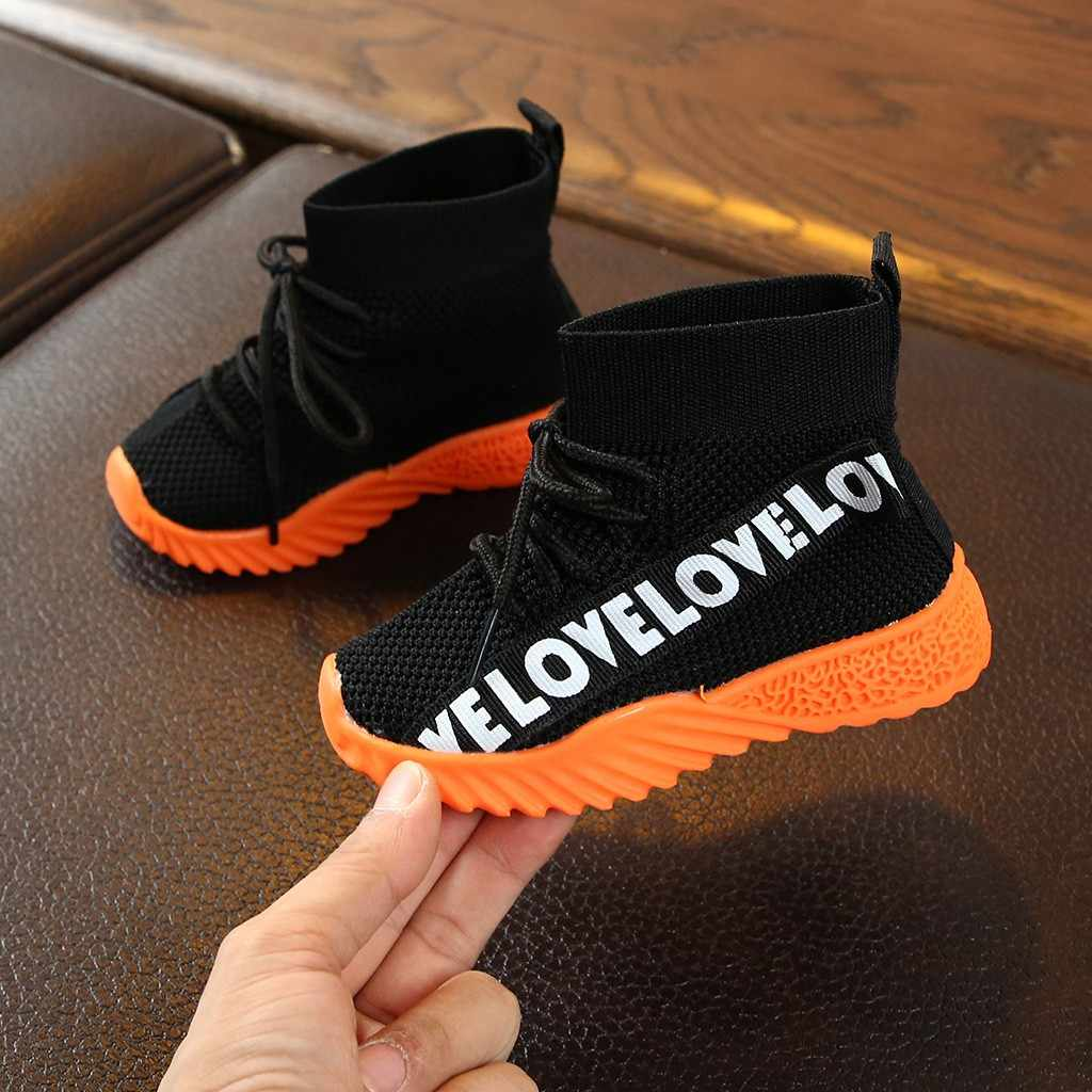 Children Kids shoes Baby Girls Boys Letter lace up Boots Stretch Run Sneakers Sport Shoes Toddler Kids Baby Girls Boys Boots