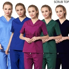 Women's Uniforms Short Sleeve V-neck Scrub Top Pure Cotton Workwear Lab Coat Clothing Summer Work Clothes Spa Uniforms