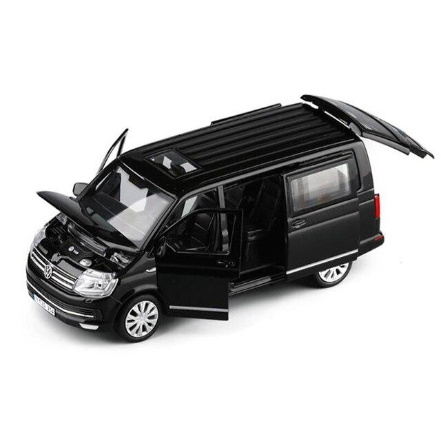 1:32 아연 합금 버스 폭스 바겐 Multivan T6 밴 합금 장난감 자동차 다이 캐스트 MPV 모델 사운드 라이트 당겨 뒤로 어린이 선물 소년 장난감