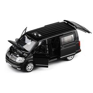 1:32 Zinc Alloy Bus Volkswagen Multivan T6 Van Alloy Toy Car Diecast MPV Model Sound Light Pull Back Children Gift Boys For Toys