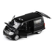 1:32 carro de brinquedo de liga de zinco, volkswagen multivan t6 van, carro de brinquedo diecast, modelo mpv, luz de som, puxar para trás, presente para crianças meninos para brinquedos