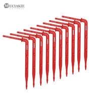 MUCIAKIE 200/500/1000 Uds 1/8 ''goteros de codo rojo Micro emisor de riego por goteo 3/5mm Flecha de flexión para invernadero en maceta