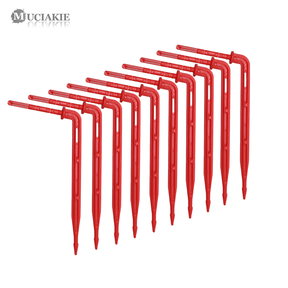 MUCIAKIE 200/500/1000PCS 1/8'' Red Elbow Drippers Garden Micro Drip Irrigation Emitter 3/5mm Bending Arrow For Potted Greenhouse